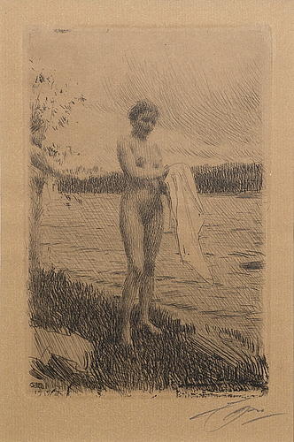 Anders zorn, a signed etching from 1919.