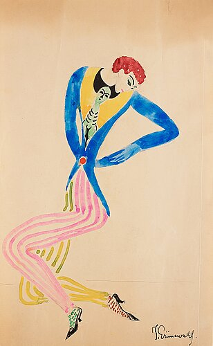 Isaac grünewald, dandy in a blue jacket and striped trousers.