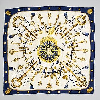 HERMÈS, a 'Les Clefs' silk scarf.