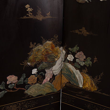 A chinese screen with stone inlay, first half of the 20th century.