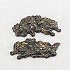 Menuki, 1 par, järn, edo (1603-1868).