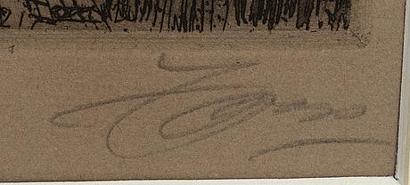 Anders zorn, etsning, 1917, signerad.