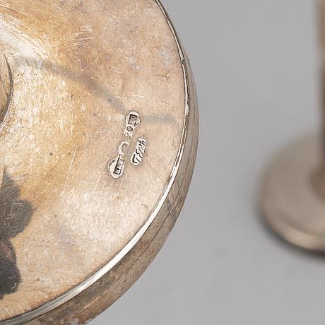 2+2 swedish silver candlesticks, including mgab uppsala 1963.