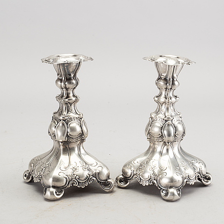 A pair of 20th century silver candle sticks mark of gab stockholm 1944.