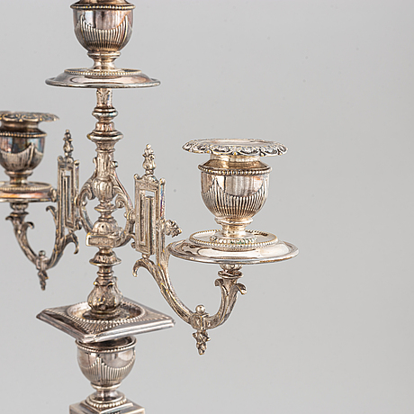 A pair of silver plated candelabras, early 20th century.