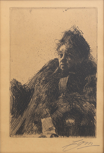 Anders zorn, a signed etching from 1891.