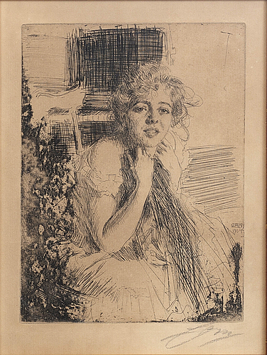 Anders zorn, a signed etching from 1904.