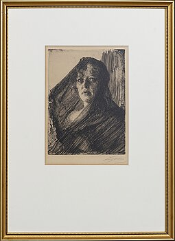 Anders Zorn, a signed etching from 1909.