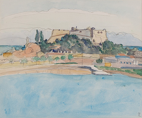 Hilding linnqvist, watercolour, signed.