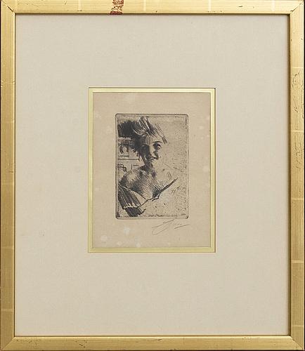 Anders zorn, etsning, 1898, signerad.