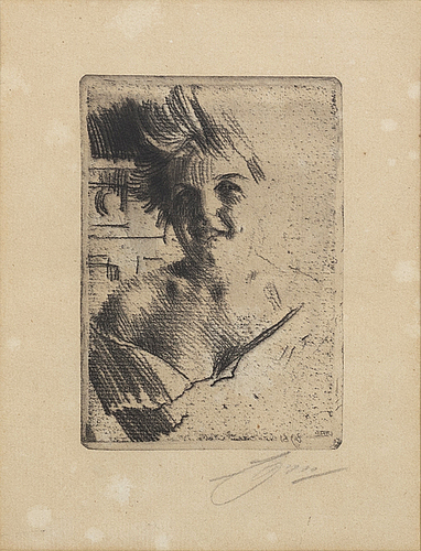Anders zorn, a signed etching from 1898.