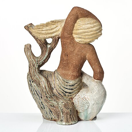 Stig lindberg, a stoneware sculpture of 'leda and the swan', gustavsberg studio, sweden 1940's.