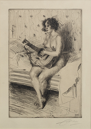 Anders zorn, a signed etching from 1900.