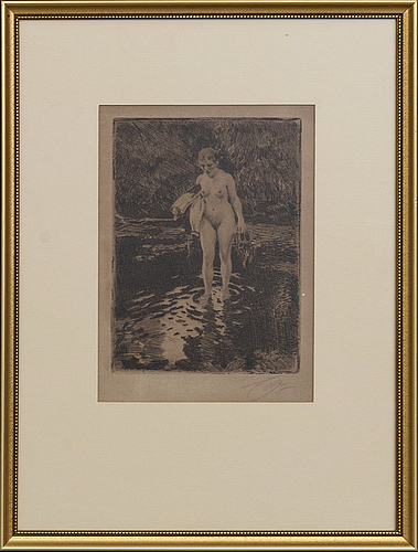 Anders zorn, a signed etching from 1912.