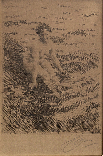 Anders zorn, a signed etching from 1911.