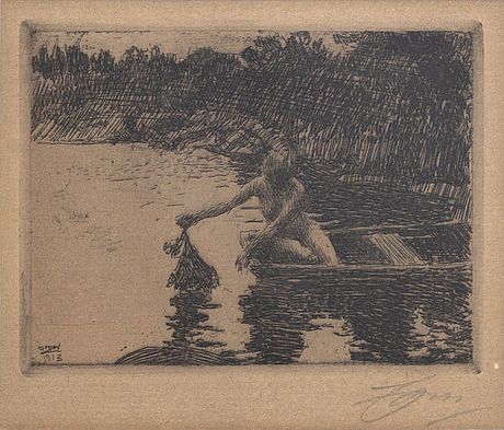 Anders zorn, a signed etching from 1913.