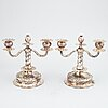 A pair of silver candelabra, cg hallberg, stockholm 1955.