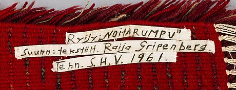 Raija gripenberg, rya. modell för helmi vuorelma. ca 197x106 cm.