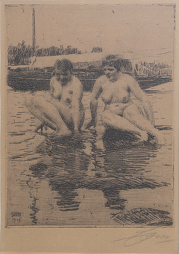Anders zorn, a signed etching from 1916.