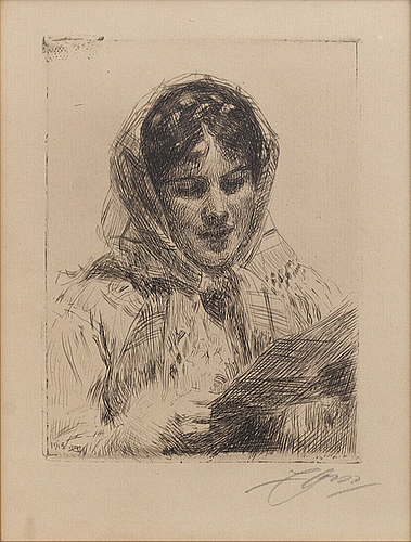 Anders zorn, a sigend etching from 1913.
