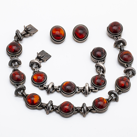 Jewellery set sterling silver and amber approx 18 mm, gdh denmark.