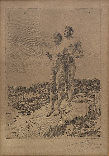 Anders zorn, a signed etching form 1916.