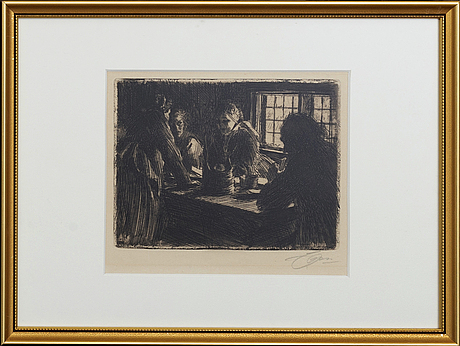 Anders zorn, a signed etching from 1905.