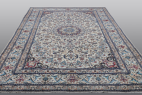A carpet, nain, so called 9 laa, part silk, ca 360 x 240 cm.