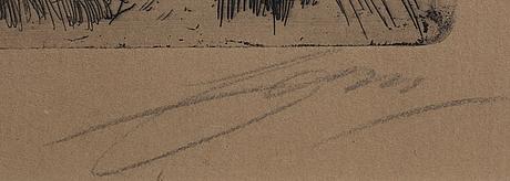Anders zorn, etsning, 1907, signerad.