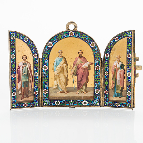 A russian silver enamel icon dated 6th of february 1911. st. petersburg.