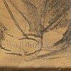 Josef wilhelm wallander, charcoal on paper, inscribed.