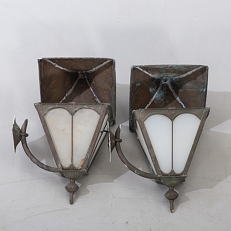 Ytterbelysing, ett par, koppar, 1900-talets andra hälft.