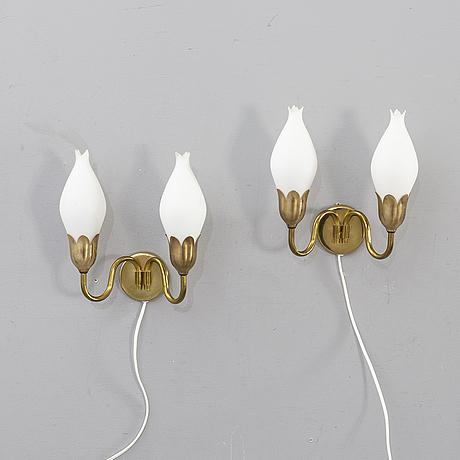 """VÄgglampor ett par fog & mørup,""""tulip"""" 1900-talets mitt."""
