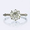 Diamond ring, platinum 1 old-cut diamond approx 2,5 ct l-m vs, w a blin stockholm 1945, size 58.