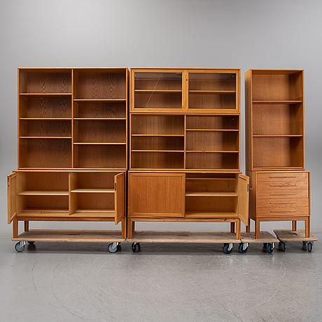 Alf svensson, a seven-piece oak shelf system, bjästa snickerifabrik, 1960's.