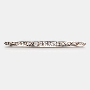 A platinum brooch with brilliant- and single -cut diamonds ca. 1.33 ct in total. Latter part of the 20th century.