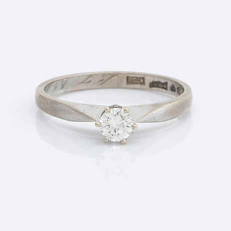 Diamond ring 18k whitegold 1 brilliant-cut diamond 0,25 ct inscribed.