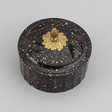 A swedish empire 19th century porphyry butter box.
