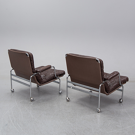 Bruno mathsson, a pair of 'karin' tubular steel easychairs, dux.