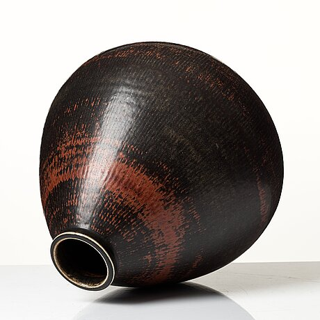Carl-harry stålhane, a unique stoneware vase, rörstrand, sweden 1961.