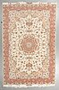 A carpet, tabriz, part silk, ca 304 x 199 cm (as well as 3,5-4 cm flat weave at the ends).