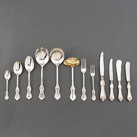 Bestickservis, 91 delar, modell olga, silver, gab, stockholm/eskilstuna, 1954-93.