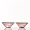 Simon gate, a pair of glass bowls, orrefors, sweden ca 1930.