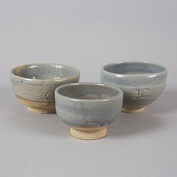 Three bowls by Hertha Hillfon.