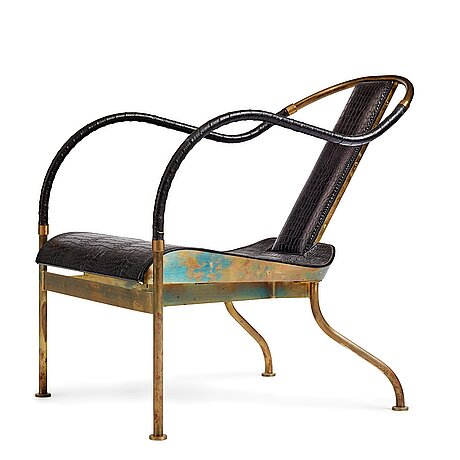 """Mats theselius, an """"el rey"""" brass and black leather armchair, källemo, sweden post 1999."""