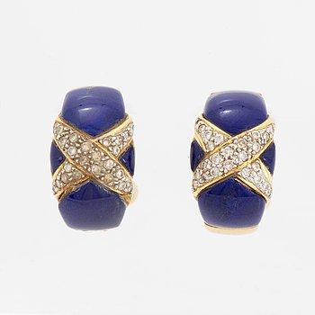 18K gold, lapis lazuli and brilliant-cut diamond earrings.