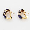 18k gold, lapis lazuli and brilliant-cut diamond earrings.