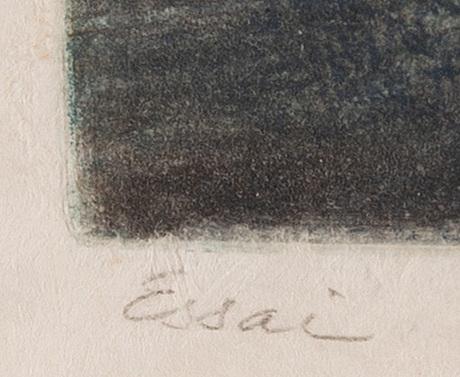 Roberto matta, färgakvatint, signerad.