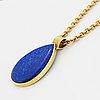Hängsmycke med droppformad lapis lazuli, med kedja.