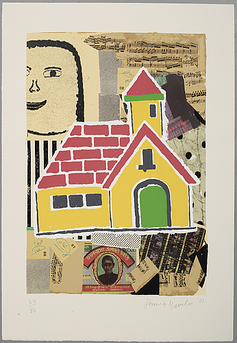 Donald baechler, färgserigrafi, 2001, signerad 64/86.